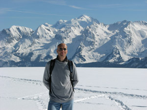 Eric at Plateau des Glières with Mont Blanc in the background